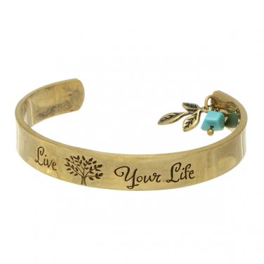 Live Your Life Tree of Life Cuff Bracelet