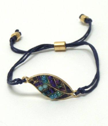 Beaded Leaf Cord Bracelet