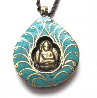 Brass Meditating Buddha Turquoise Leather Necklace