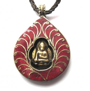 Brass Meditating Buddha Red Howlite Leather Necklace