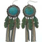 Feather Turquoise Tassel Chain Dangle Earrings