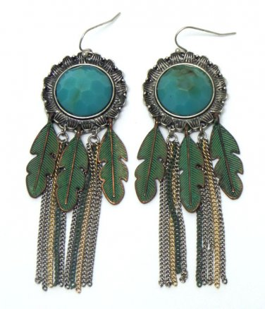 Feather Turquoise Tassel Chain Dangle Earrings
