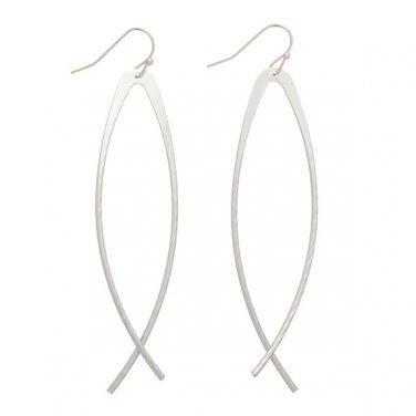 Long Ichthus Fish Faith Dangle Earrings