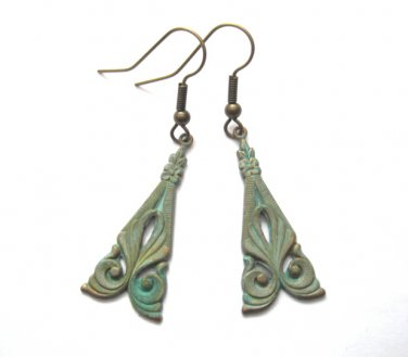 Verdigris Brass Nouveau Dangle Earrings