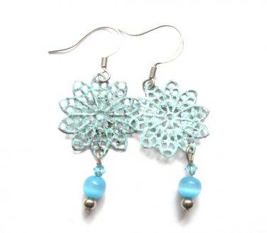 Filigree Patina Turquoise Cats Eye Dangle Earrings