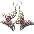Filigree Brass Butterfly Pink Rose Earrings