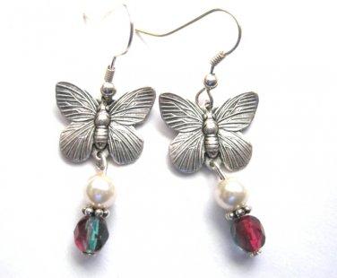 Butterfly Pearl Drop Earrings