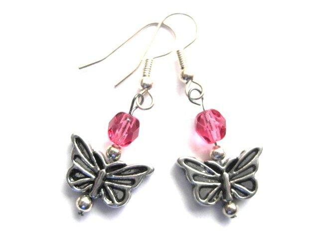 Butterfly Pink Glass Bead Earrings