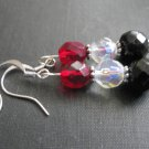 Gothic Black Red Crystal Dangle Earrings