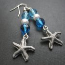 Starfish Pearl Blue Beads Dangle Earrings