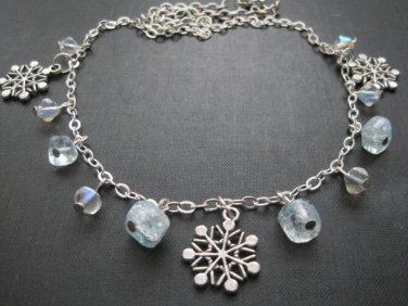 Winter Snowflake Ice Princess Charm Necklace