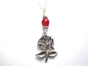 Rose Red Glass Necklace