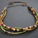 Multi Strand Autumn Harvest Colors Necklace
