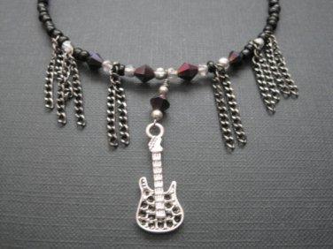 Rock Guitar Fringe Chain Beaded Choker