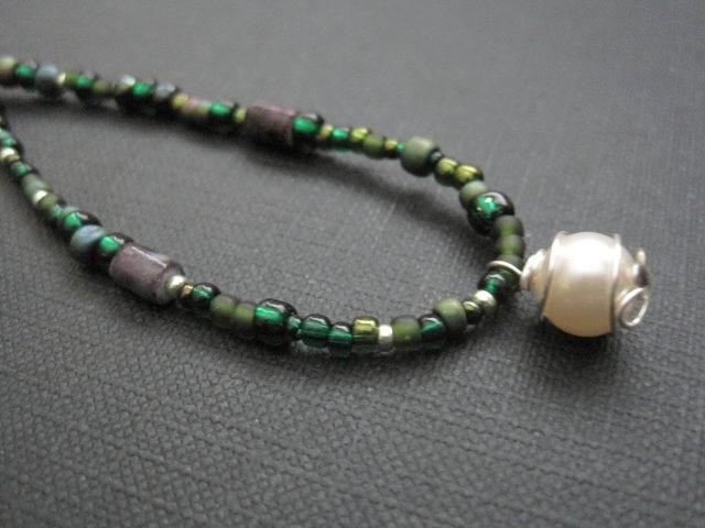 Green Seed Bead Pearl Necklace