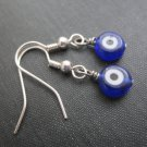 Blue Evil Eye Dangle Earrings