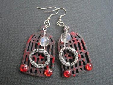 Gothic Black Birdcage Splattered Earrings