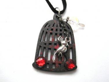 Gothic Black Bird Cage Splattered Choker Necklace