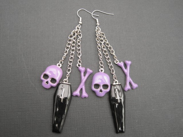 Black Coffin & Skull Bones Dangle Gothic Earrings