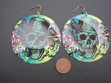 Green Skull Tattoo Dangle Earrings