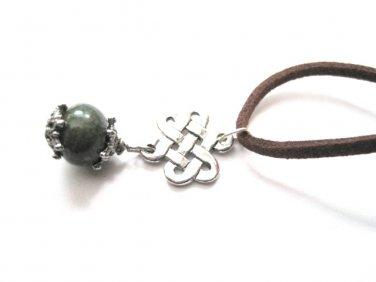 Celtic Irish Weave Celtic Knot Chrysocolla Gemstone Cord Necklace