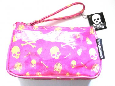 Pink Skull & Bones Wristlet Purse