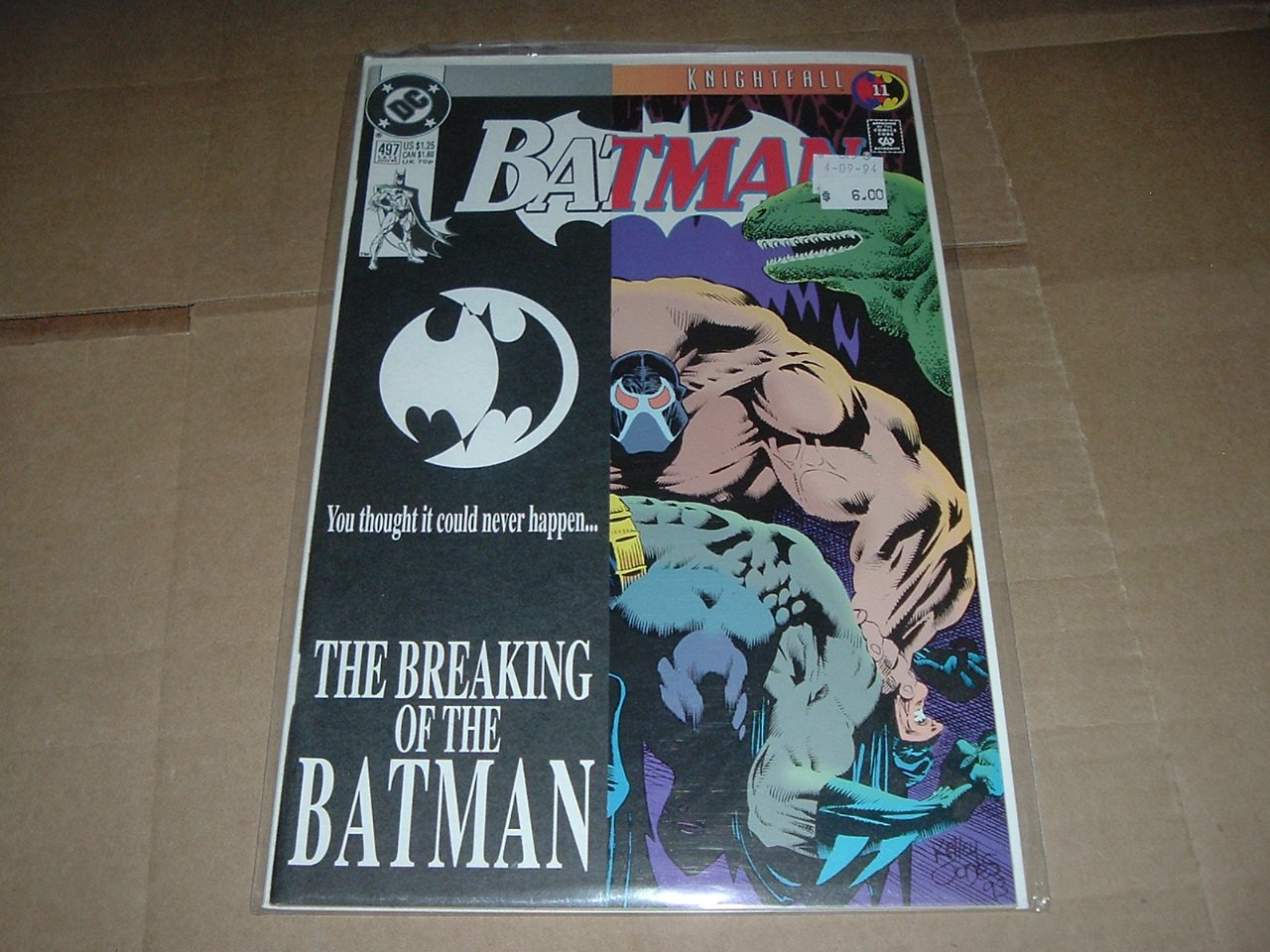 Batman #497 NEAR MINT FIRST PRINT Direct Black Cover variant Bane breaks Batman's back (DC 1993)
