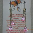 Pink Briolette Glass Bead Dangle Earrings