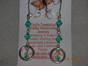 Gorgeous Green Glass Dangle Leverback Earrings
