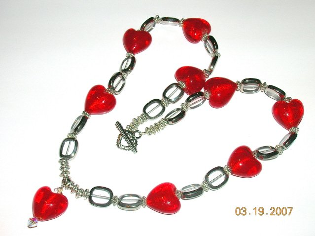 Rich Red Heart Necklace. For The Romantics Out There. Very Pretty.