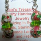 Pink and Green Cloisonne Earrings. So Pretty