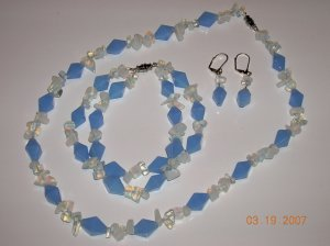 Moonstone and Sapphire Necklace Bracelet and Earrings Set