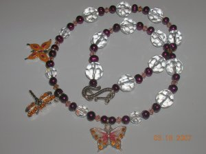 Freshwater Pearl, Crystal and Swarovski Crystal Butterfly Necklace Must See