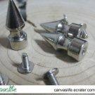 10pcs 10mm Screwback Silver Color Spikes Stud