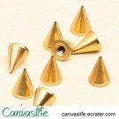 10pcs 7mm Golden Color Spikes Stud