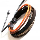 Brown Leather Bracelet with colorful strap - LB002