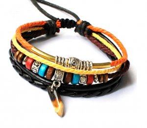 Leather Bracelet with colorful beads -LB003