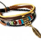 Leather Bracelet with colorful beads -LB001