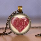 Love Heart Cabochon Glass Vintage Bronze Chain Pendant Necklace