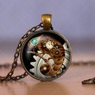 Photo Cabochon Cabochon Glass Vintage Bronze Chain Pendant Necklace