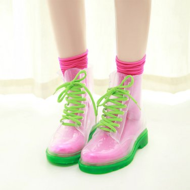 Clear Jelly Color Women Waterproof Rubber Martens Rain Boots Female duck boots Waterproof Shoes