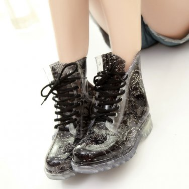 Women Clear Jelly Rain Boots Waterproof Rubber Martens Rain Boots Female duck boots Wellies Shoes