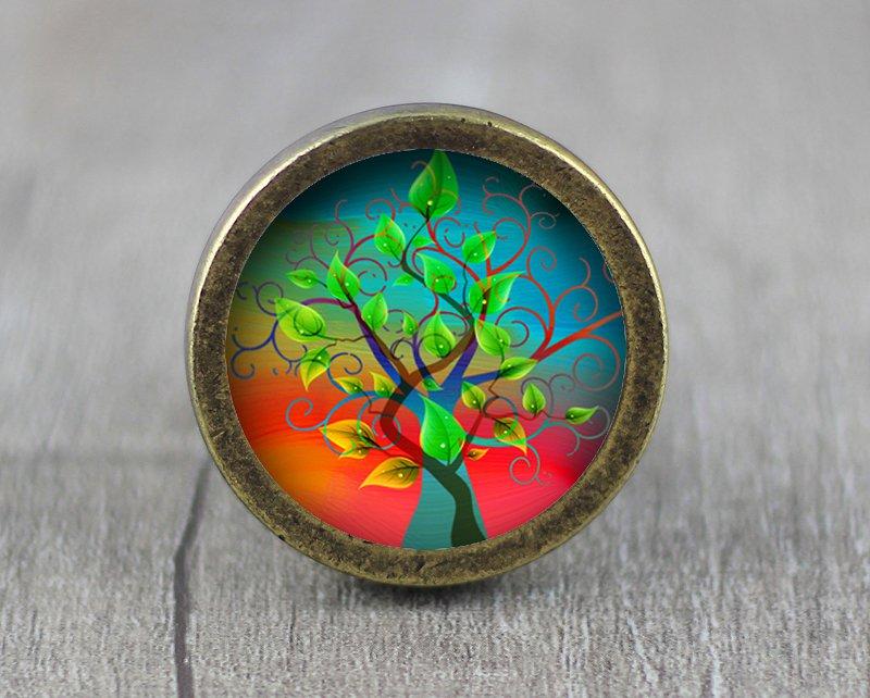 Life of Tree Glass Cabochon Bronze cabinet Dresser Knobs pull / Dresser Pull
