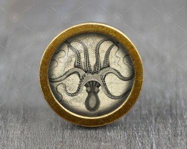 Octopus Glass Cabochon Bronze cabinet Dresser Knobs pull / Dresser Pull