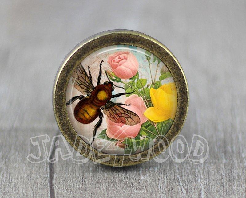 Bee Glass Cabochon Bronze cabinet Dresser Knobs pull / Dresser Pull