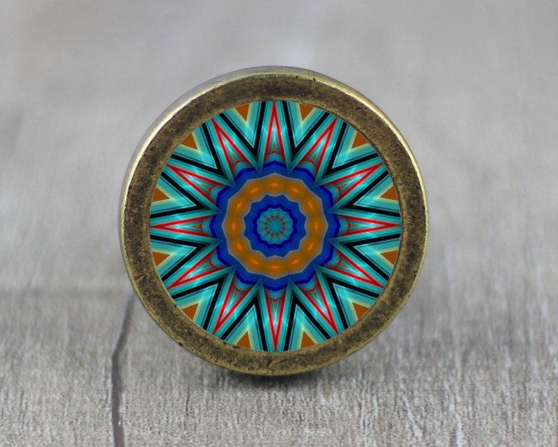 Mandalas Glass Cabochon Bronze cabinet Dresser Knobs pull / Dresser Pull