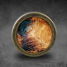 Feather Glass Cabochon Bronze cabinet Dresser Knobs pull / Dresser Pull