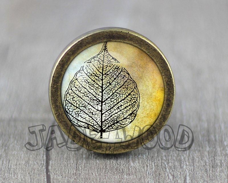 Autumn Leaf Glass Cabochon Bronze cabinet Dresser Knobs pull / Dresser Pull