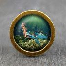 Mermaid Glass Cabochon Bronze cabinet Dresser Knobs pull / Dresser Pull