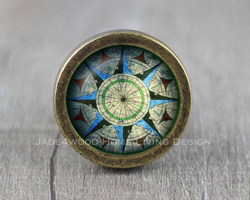 Compass Glass Cabochon Bronze cabinet Dresser Knobs pull / Dresser Pull